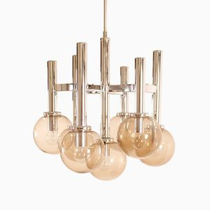 Italian Chrome & Glass Chandelier by Gaetano Sciolari
