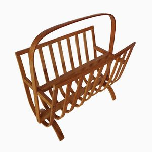 Scandinavian Vintage Birch Magazine Rack, 1950s