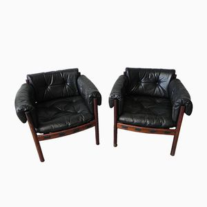Vintage Leather Armchairs by Arne Norell for Coja, Set of 2