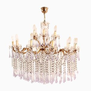 Antique Glass Chandelier with Crystal Violet Drops