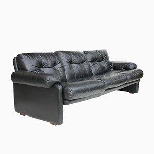 Coronado Black Leather Sofa by Tobia Scarpa for B&B Italia, 1970s