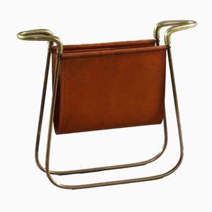 Brass & Leather Magazine Rack by Carl Auböck, 1950s