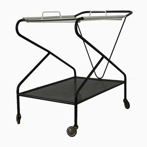 Perforated Metal Tea Trolley or Serving Cart, 1950s