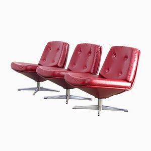 Red Skai Lounge Chairs, 1960s, Set of 3