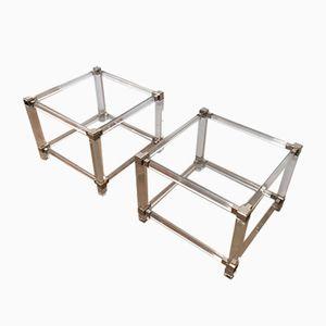 Tables de Chevet en Plexiglas et en Chrome, 1970s, Set de 2