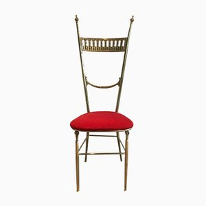 Vintage Brass Side Chair with Red Seat