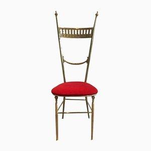 Vintage Messing Beistellstuhl mit rotem Sitz