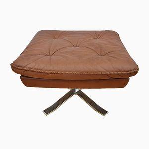 Danish Brown Leather Swivel Footstool, 1970s