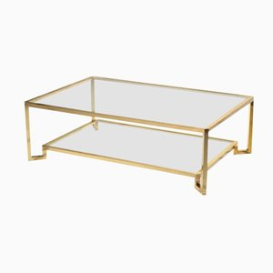 Large Brass Table by Guy Lefèvre for Maison Jansen, 1970s