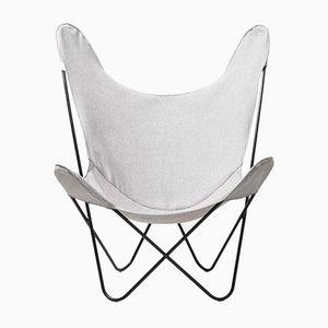 Easy Chair Vintage Papillon avec Housse Grise