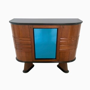 Italian Rosewood and Blue Mirror Bar Cabinet, 1950s