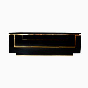 Lacquer & Brass Buffet by Jean-Claude Mahey for Roche Bobois, 1970s