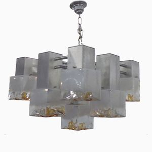 White & Amber Murano Glass Cube Chandelier from Mazzega, 1970s