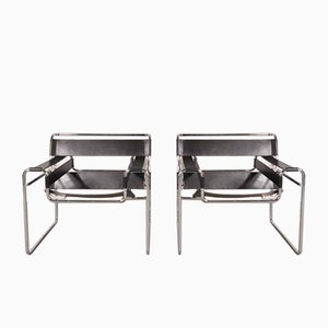 Leather & Steel Wassily Chairs by Marcel Breuer for Gavina, 1960s, Set of 2