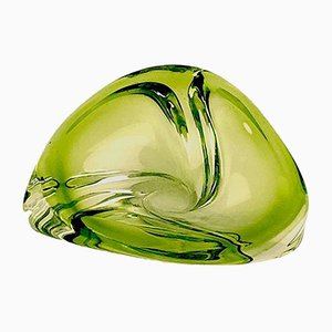French Vide Poche in Green Glass from Val Saint Lambert, 1950s