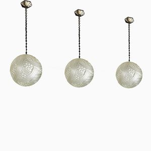 Art Deco Pendant Ball Lights, 1925, Set of 3