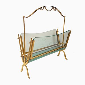 Italian Brass & Glass Magazine Rack by Cesare Lacca for Fontana Arte, 1940s