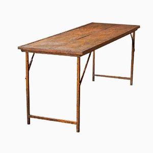 Table Pliable Industrielle en Bois et en Métal