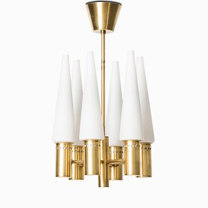 Brass and Opal Glass Ceiling Lamp from Hans-Agne Jakobsson, 1950s
