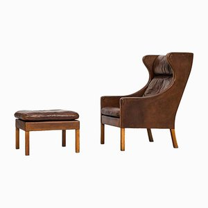 Wingback Chair and Stool by Børge Mogensen for Fredericia, 1950s