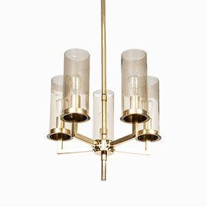 Brass & Glass Chandelier from Hans-Agne Jakobsson, 1950s
