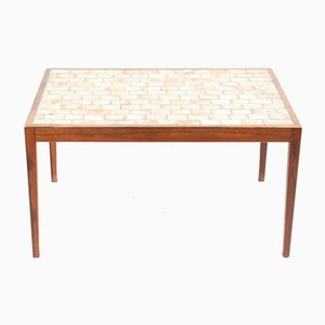 Mid-Century Danish Rosewood Coffee Table with Art Tiles, 1960s