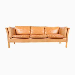 Vintage Danish Three-Seater Tan Leather Sofa, 1980s