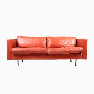 Red Danish Leather Sofa from Illumsbolighus, 1990s