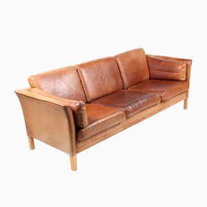 Vintage Danish Three-Seater Tan Leather Sofa from Mogens Hansen, 1980s