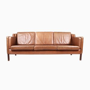 Vintage Danish Three-Seater Leather Sofa from Stouby, 1980s