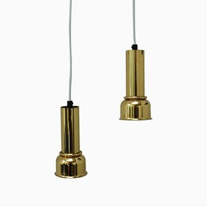Vintage Solid Brass Pendant Lamps, Set of 2