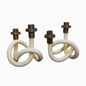 Lucite Pretzel Candle Holders by Dorothy Thorpe, 1950s, Set of 2