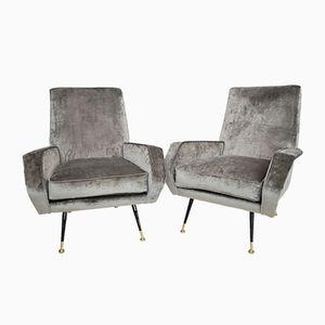 Italian Mid-Century Velvet & Brass Armchairs, 1950s, Set of 2
