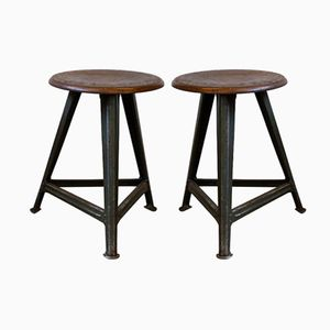 Industrial Beech & Iron Workshop Stools from ROWAC, Set of 2