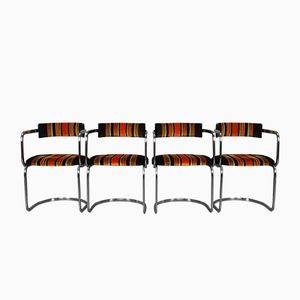 Vintage Chrome Cantilever Dining Chairs, 1970s, Set of 4
