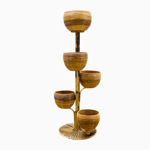 Italian Bamboo Plant Holder by Franco Albini