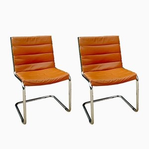 Tan Leather Side Chairs, 1970s, Set of 2