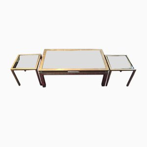 French Bronze & Silver Nesting Tables, 1970s