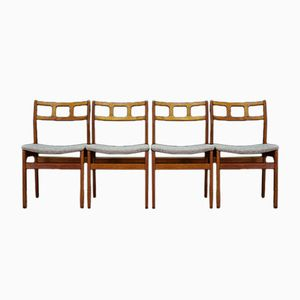 Scandinavian Upholstered Teak Dining Chairs, 1960s, Set of 4