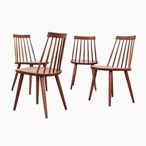 Teak Chairs with Spindle-Backs, 1960s, Set of 4