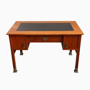 Art Deco Kirschholz Schreibtisch mit Leder Tischplatte