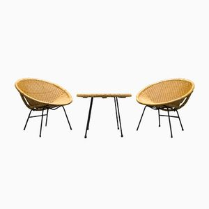 Mid-Century Rattan Cocktail Chairs with Coffee Table