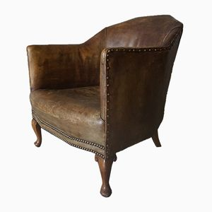 Vintage Art Deco Brown Leather Club Chair, 1930s