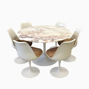 Marble Dining Table & 6 Tulip Chairs by Eero Saarinen for Knoll International, 1970s