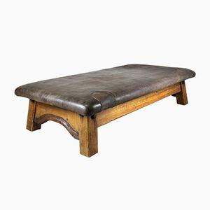 Großer Leder Tisch oder Tagesbet von J. Plaschkowitz, 1850er