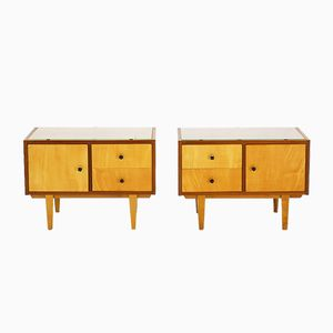 Maple & Walnut Nightstands, 1950s, Set of 2