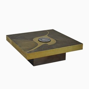 Etched Brass & Agate Coffee Table by Marc D'Haenens, 1970s