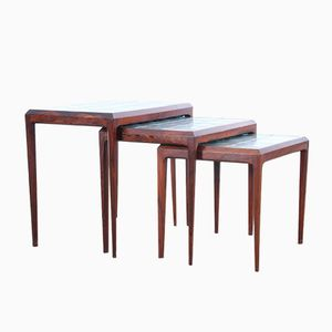 Rio Rosewood Nesting Tables with Tiled Tops by Johannes Andersen for CFC Silkeborg, 1962