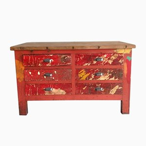 Mid-Century Workbench with Six Drawers