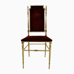 Vintage French Brass & Velvet Chair